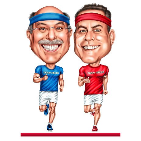 Two Persons Jogging Exaggerated Style Caricature from Photos - example