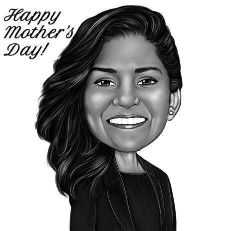 Mother's Day Cartoon Drawing for Gift Card in Monochrome Style - example