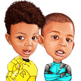 Couple of Children Drawn from Photo in Random Superhero Costumes