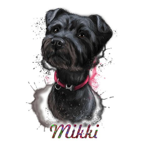 Akvarel hundportræt med navn i naturlig farve - example