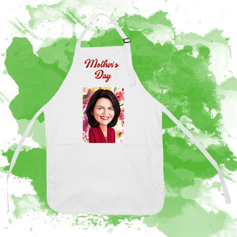 Print on Baking Apron: Personalized Digital Caricature Drawing of Woman - example