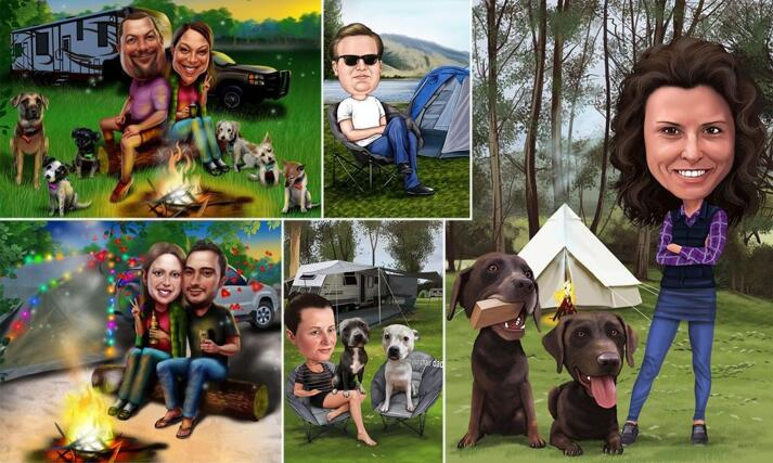 Camping Caricature large example