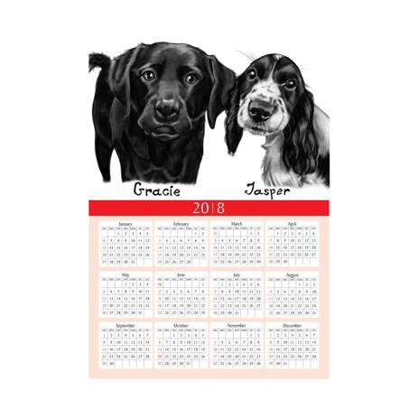 Dogs Caricature Drawing on Calendar - example