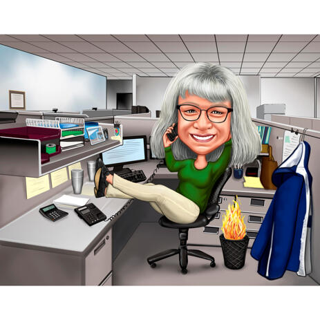 Custom Accounting Worker Caricature in Color Style with Background - example