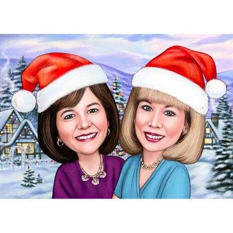 Новогодняя карикатура двух человек на фоне снега - example