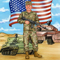 Full Body Military Portrait in Color Style on Custom Background