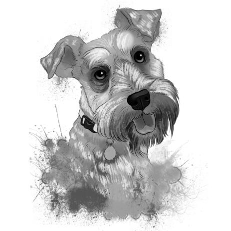 Head and Shoulders Dog Portrait of Fox Terrier from Photo in Grayscale Watercolor Style - example