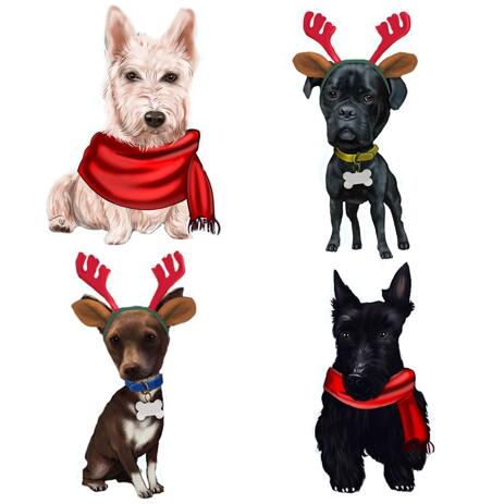 Full Body Christmas Dogs Caricature Portrait in Color Style - example