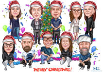 Christmas Group Caricature example 1