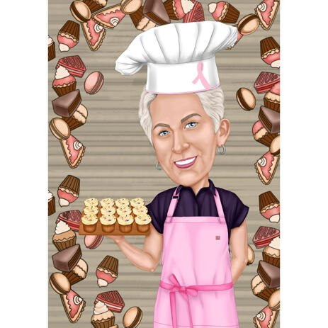 Baking Cartoon Caricature Portrait in Colored Style with Custom Background for Chef Gift - example