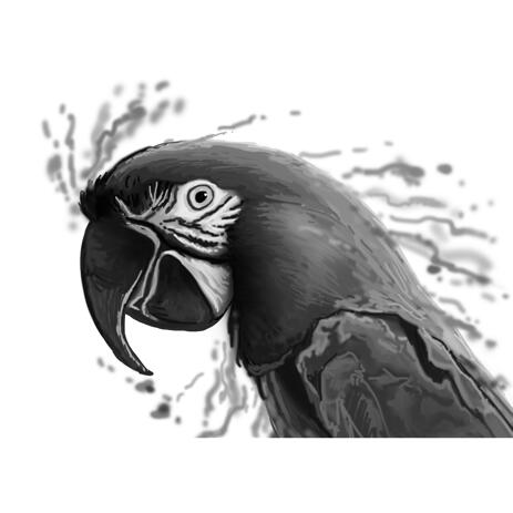 Graphite Parrot Portrait in Watercolor Style from Photo - example