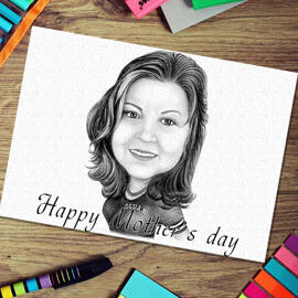 Original Drawing: Personalized Cartoon Drawing on Paper in honor of Mother's Day