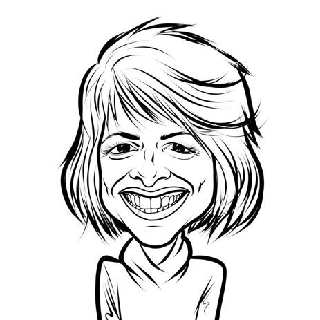 Woman Outline Cartoon Portrait Drawing from Photo - example