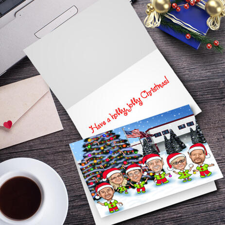 Corporate Group Elf Caricature Set of 10 Cards with Custom Background Hand-Drawn from Photos - example