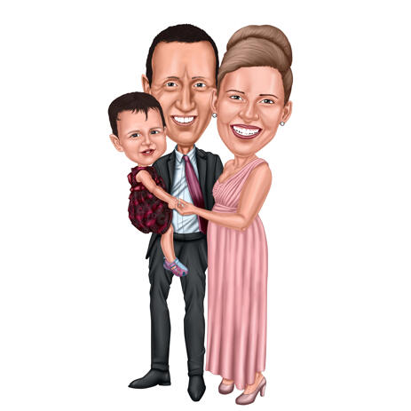 Full Body Family Caricature Portrait on White Background - example