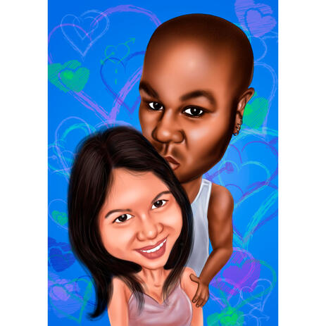 Tenderness Kiss Caricature in Head and Shoulders with Colored Background - example