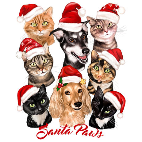 Christmas Pets Group Caricature Portrait from Photos - example