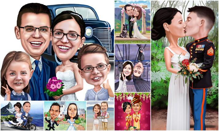 Caricaturas de boda large example