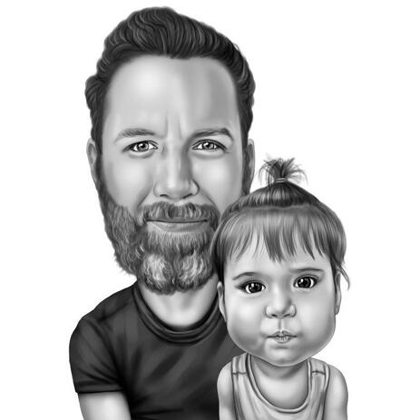Custom Hand Drawn Daddy with Daughter Cartoon Portrait in Black and White Style - example