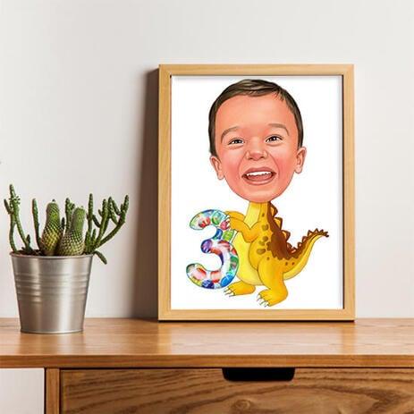 Цветная карикатура ребенка на постере для подарка на день рождения. - example