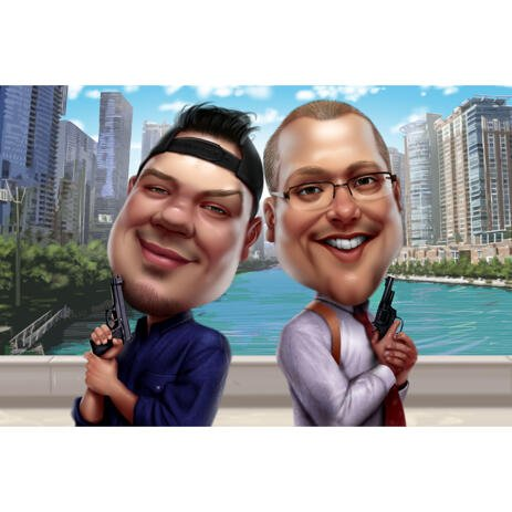Two Men Superheroes with Guns Funny Cartoon Caricature with City Background - example