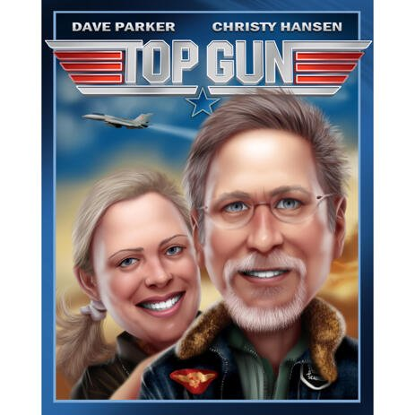 Couple Caricature Portrait as Any Movies Poster - example