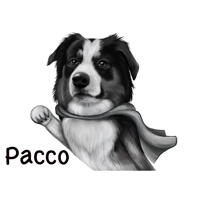 Superhero Dog Cartoon Portrait with Personalized Name in Black and White Digital Style