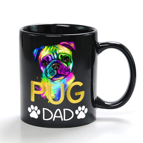 Custom Pug Portrait on Mug - Pug Dad Gift - example