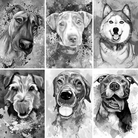 Графитовый акварельный портрет собаки с фоном - example