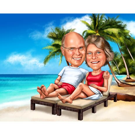 Full Body Couple Caricature on Vacation with Beach Background - example