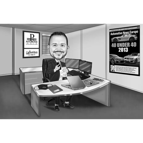 Svartvitt kontorskarikatyr bak skrivbordet från foton - example