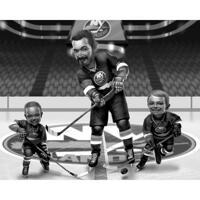 Familie hockeykarikatuur van foto's in zwart-witstijl