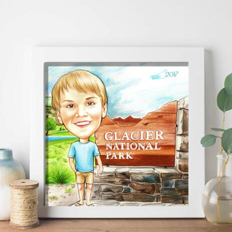 Colored Boy Caricature on Poster - example