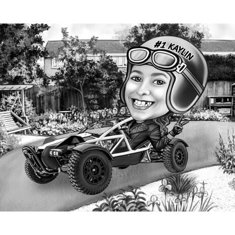 Person with Race Car - Cartoon Drawing in Black and White Style with Custom Background for Rally Fans - example