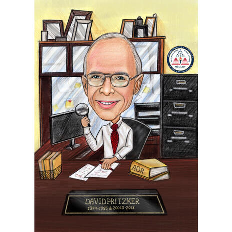 Manager Working in the Office Cartoon Caricature in Pencil Colored Style - example