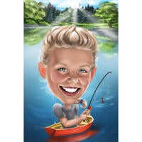 Fishing Kid Caricature with Lake Background