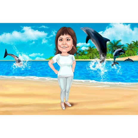 Full Body Caricature with Dolphins Background in Colored Style - example