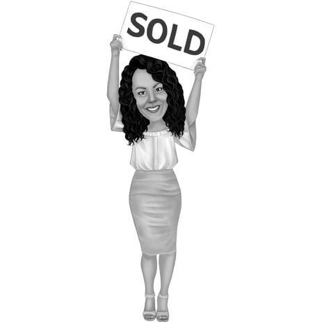 Caricature de corps entier d'agent immobilier dans le style noir et blanc - example