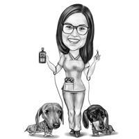 Médecin vétérinaire avec portrait de dessin animé de chiens teckel à partir de la photo en style noir et blanc