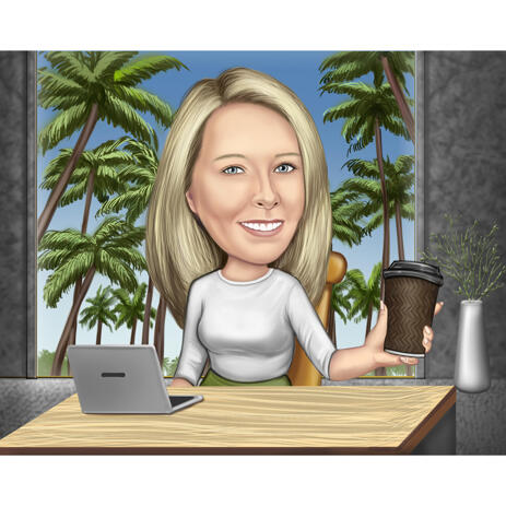 Office Caricature with Desk, Laptop and Coffee - example