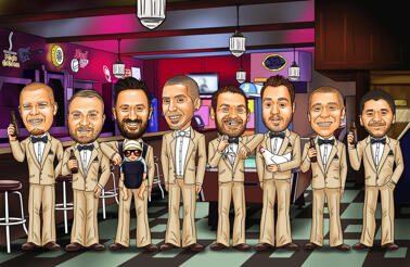Bar Groomsmen Caricature from Photos
