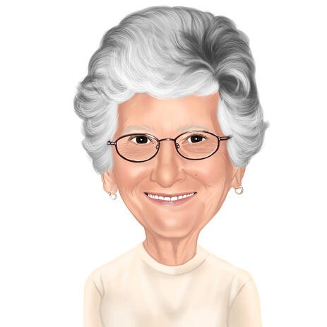 Grandmother Caricature in Colored Digital Style from Photo - example