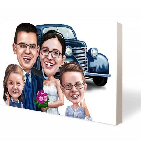 Wedding Couple with Guests Canvas Caricature - example