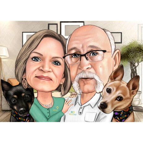 Vet Doctor Couple Caricature with Pets - example