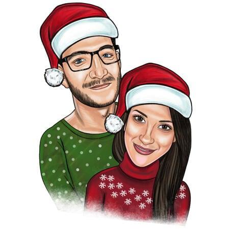 Цветная карикатура пары в рождественской теме - example