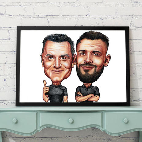 Poster Print Gift Caricature - Friends Cartoon from Photos in Funny Exaggerated Style - example