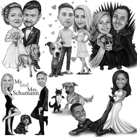 Black and White Caricature of Couple with Pet from Photos - example
