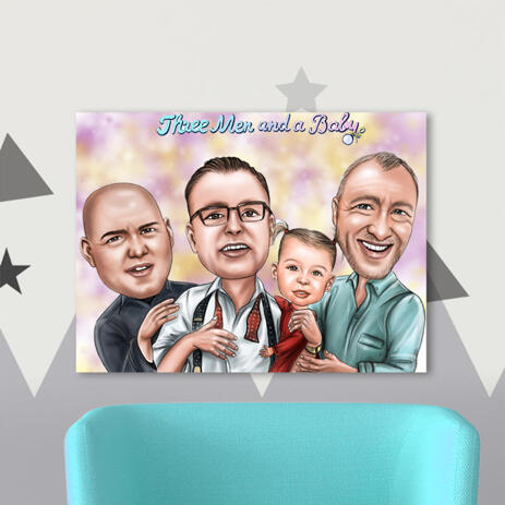 Three Men and a Baby Cartoon Portrait Printed on Canvas for Father Gift - example