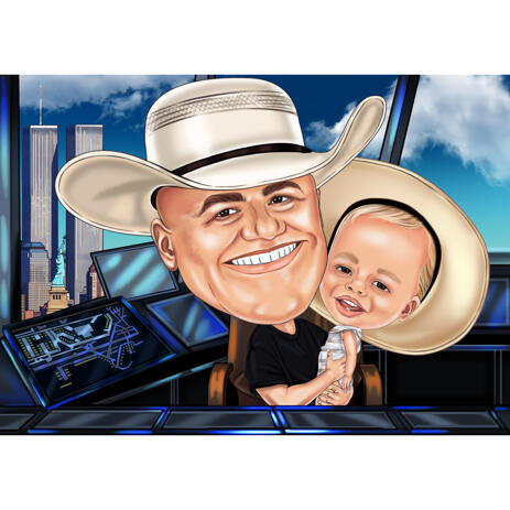 Funny Exaggerated Caricature of Grandpa and Kid from Photos with Custom Background - example