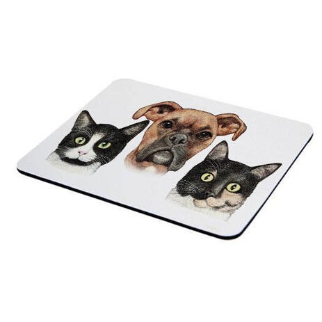 Pets Caricature Printed on Mouse Pad - example